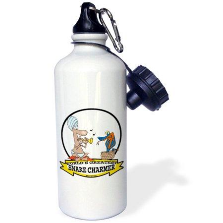 3dRose Funny Worlds Greatest Snake Charmer Cartoon, Sports Water Bottle, - Funny Snake Charmer