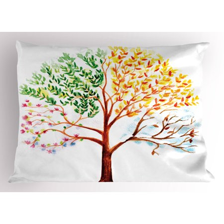 Watercolor Pillow Sham Tree with Changing Seasons Effect on Its Crown Nature Ecology Foliage Theme, Decorative Standard Size Printed Pillowcase, 26 X 20 Inches, Multicolor, by Ambesonne