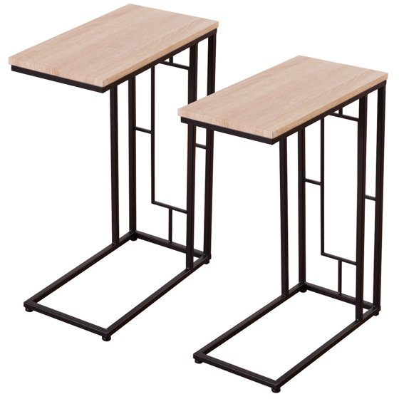 Coffee Tray Sofa Side Table: Costway Set Of 2 Coffee Tray Side Sofa End Table Ottoman