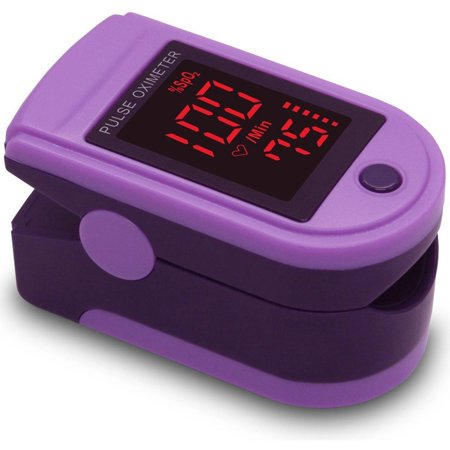 Zacurate Pro Series Cms 500Dl Fingertip Pulse Oximeter Blood Oxygen Saturation Monitor With Silicon Cover  Batteries And Lanyard  Royal Purple
