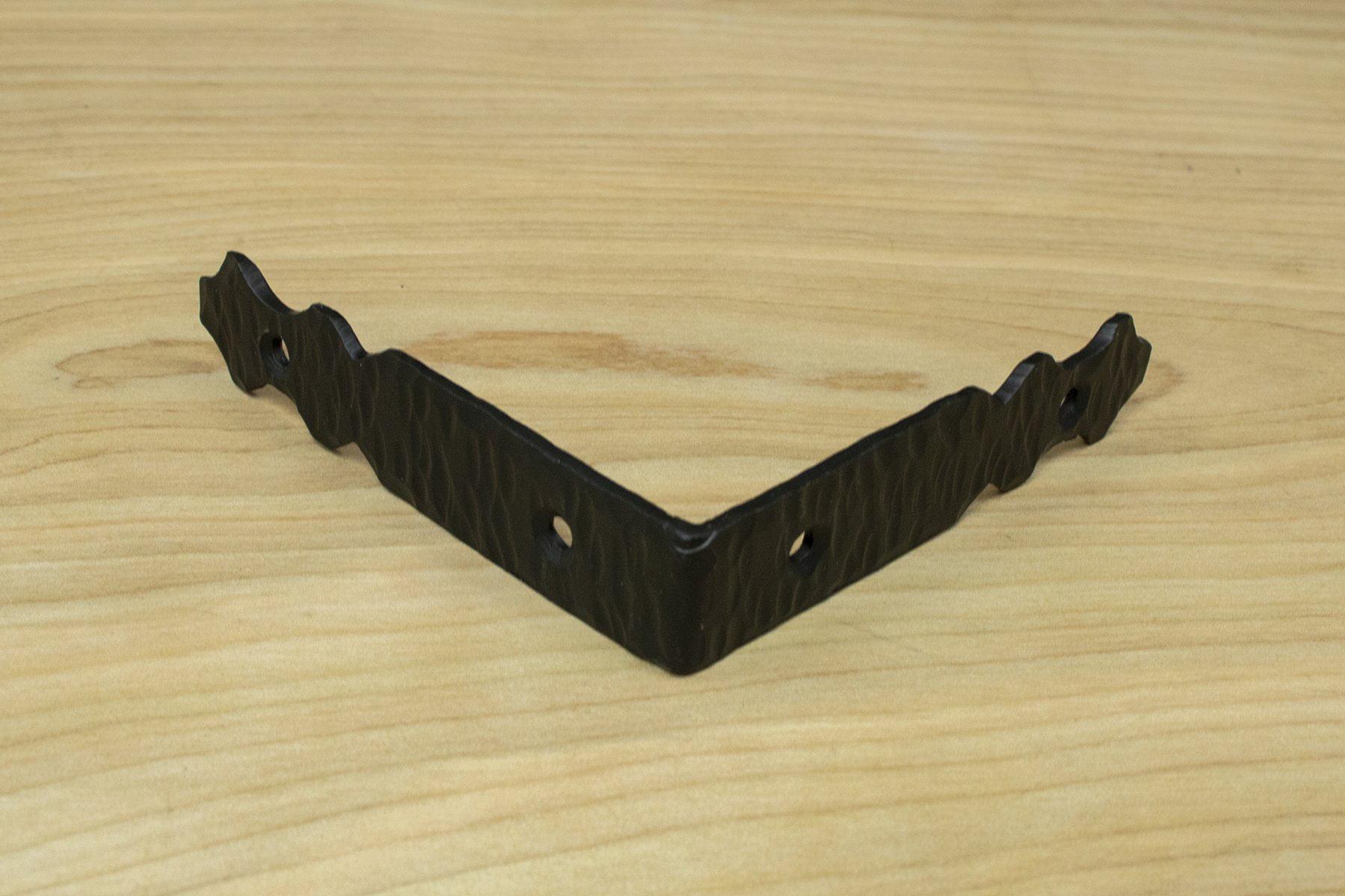 3 75 Spear Corner Bracket Brace For Furniture Rustic Hammered Iron Black Finish Hand Crafted Borderland Hardware