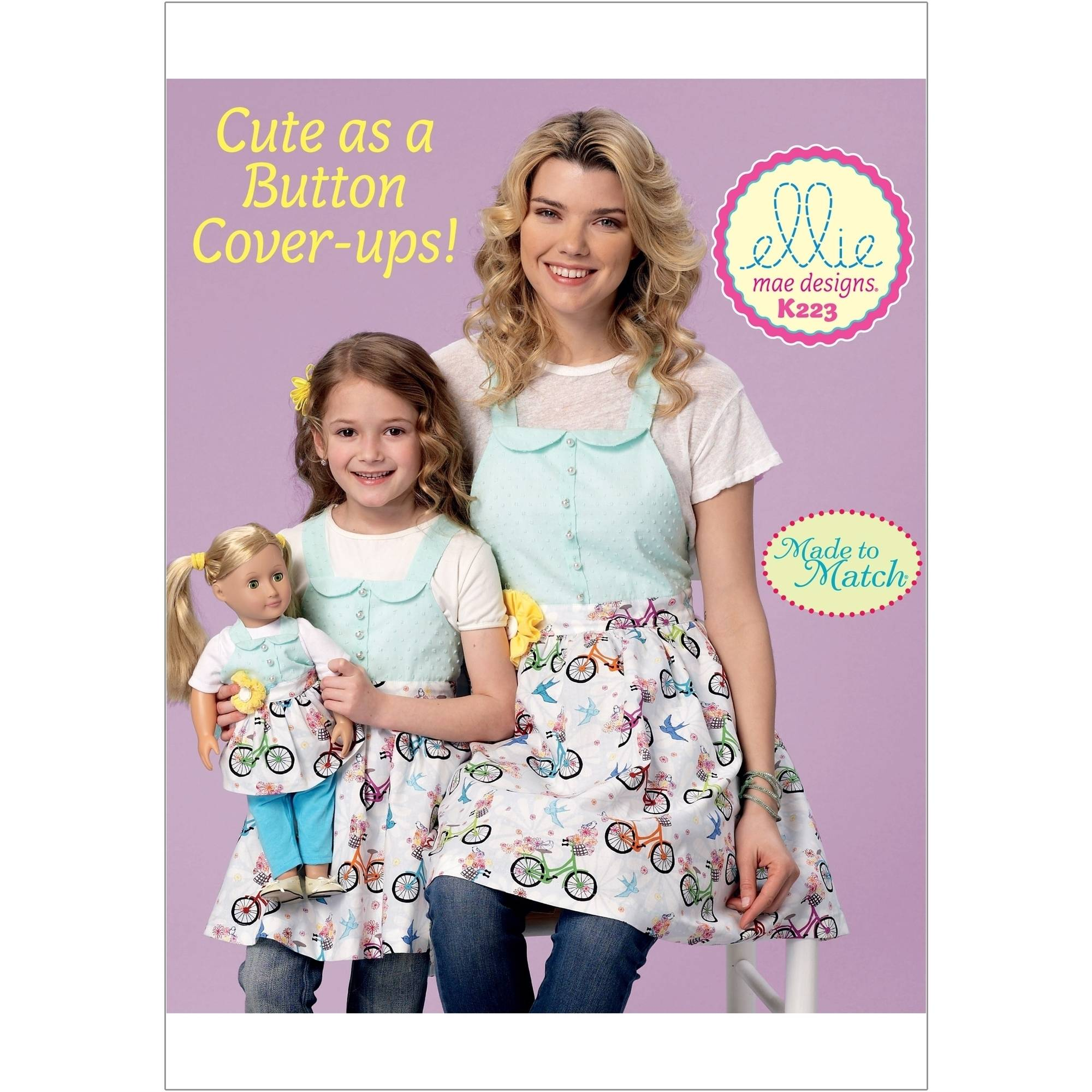 Misses'/Girls'/18 Dolls' Matching Full Aprons, S, M-L