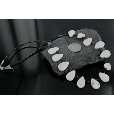 280 Retail Tag Authentic Made by Charlene Little Navajo .925 Sterling Silver Natural Mother Of Pearl Heishi Native American Necklace