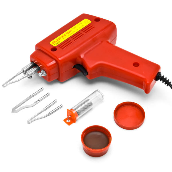 Biltek NEW 7pc Soldering Gun Kit w/Case Iron Solder 100W Professional Style Flux Solder