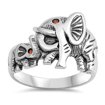 Simulated Garnet Elephant Baby Animal Beautiful Ring ( Sizes 5 6 7 8 9 10 11 12 ) Sterling Silver Band Rings (Size 5) ()