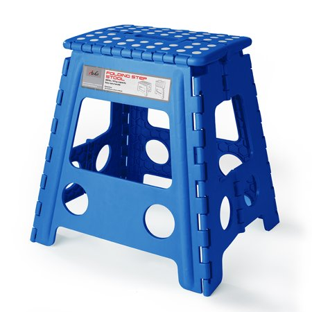 HOUSE DAY 16 Inch Super Strong Folding Step Stool for Adults and Kids Kitchen Garden Usage Blue