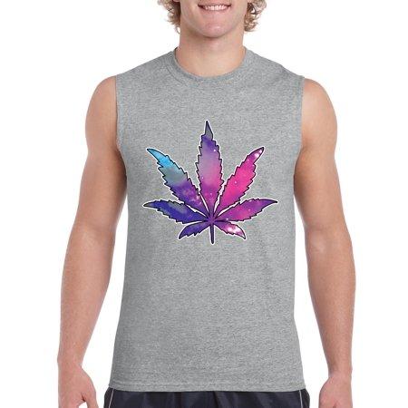 Artix Marijuana Leaf Galaxy Cannabis 420 Fashion Weed Pot People Sleeveless Men T Shirt