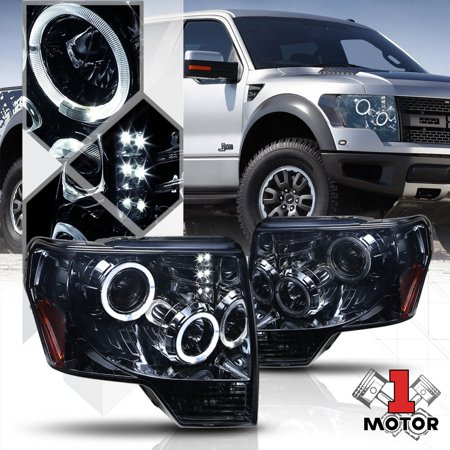 Smoked Dual Halo Projector Headlight LED DRL Amber Signal for 09-14 Ford F-150 10 11 12 13 10 Led Dual Head