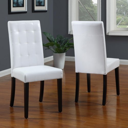 Modus Urban Seating Tufted Parsons Dining Chair in White Leatherette (pair)