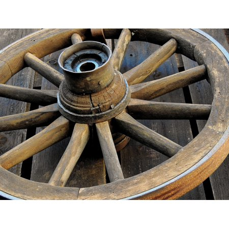 Canvas Print Wheel Wagon Wheel Old Spokes Wooden Wheel Wood Stretched Canvas 10 x 14