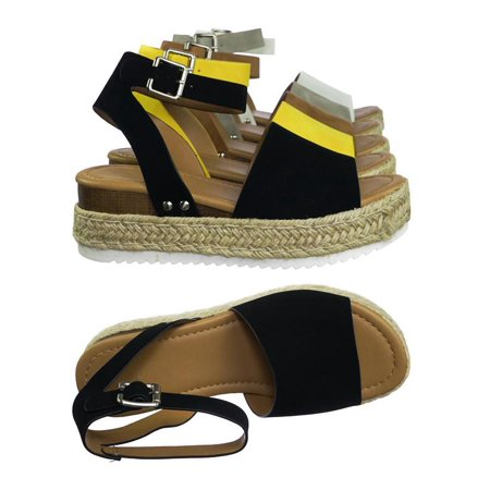 Topic by Soda, Espadrille Jute Rope Wrap Platform Flatform Rubber Shark tooth Flat Sandal