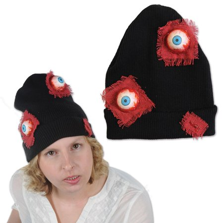 Bounce Sporting Club Halloween (Club Pack of 12 Halloween Black and Red Bloodshot Eyeballs Knit Caps)
