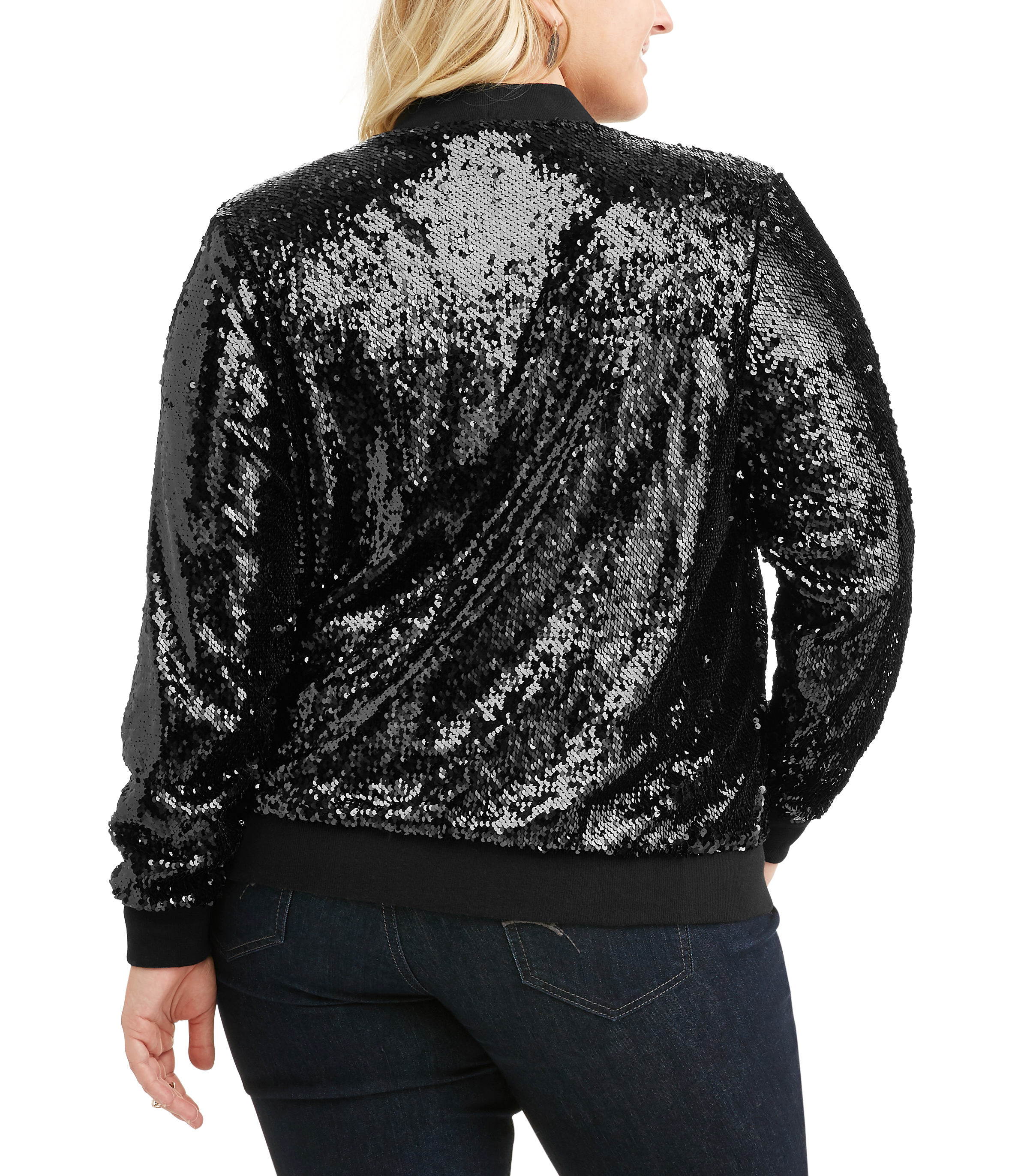 8f29607f67f New Look - Juniors  Plus Metallic Sequin Bomber Jacket - Walmart.com