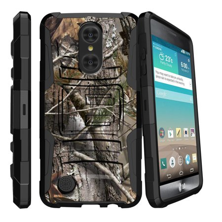Lg Fortune Case   Lg Phoenix 3 Case   Lg K4 2017 Only   Lg V1   Clip Armor   Dual Layer Case Rugged Exterior With Built In Kickstand   Holster   Tree Bark Hunter Camouflage