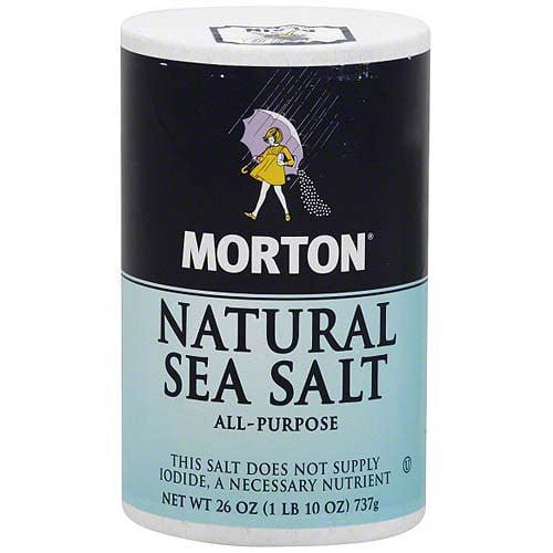 Morton Natural Sea Salt, 26 oz (Pack of 12)