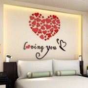 1 SET Lovely Mirror Hearts Home 3D Wall Stickers Decor DIY Decal Removable