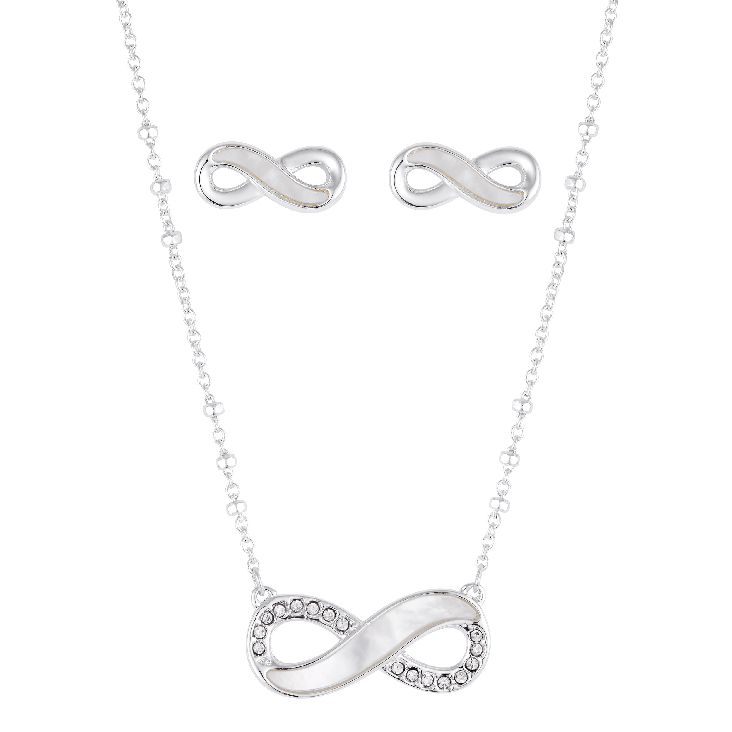 Stainless Steel Infinity Pendant and Matching Earring Set