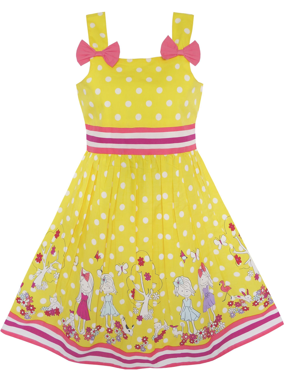 Girls Dress Cartoon Polka Dot Bow Tie Summer Sundress 8