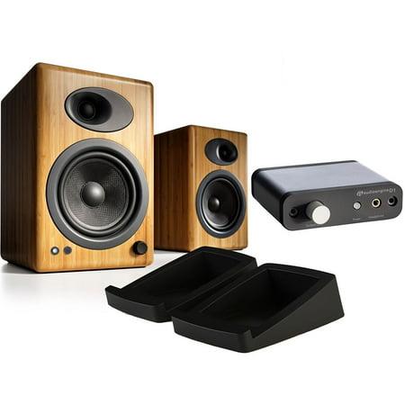 Audioengine A5+ Premium Powered Speakers (Bamboo) w/ DS2 Speaker Stands & D1 Digital Analog
