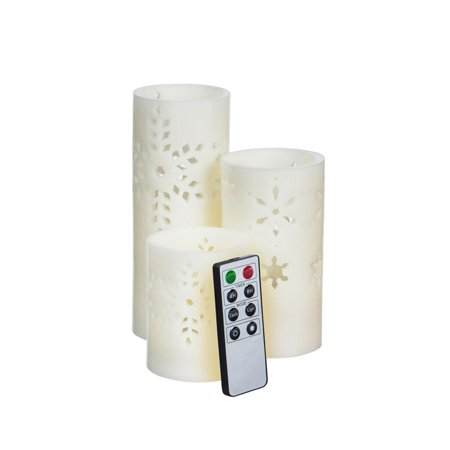 Snowflake Pierced Battery Operated Flameless LED Wax Pillar Candle w/ Remote, Set of 3 - Snowflake Candles