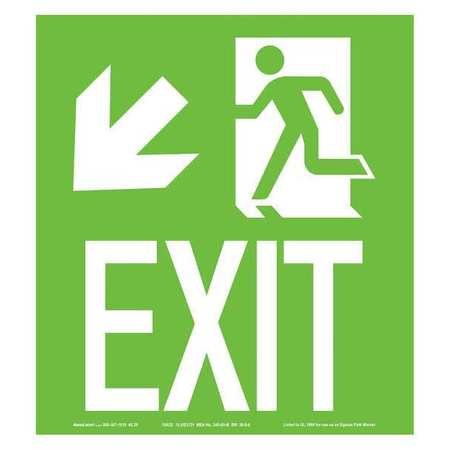 ADDLIGHT 40.20 Exit Sign, 10 x 9In, Glow/GRN, Exit, ENG