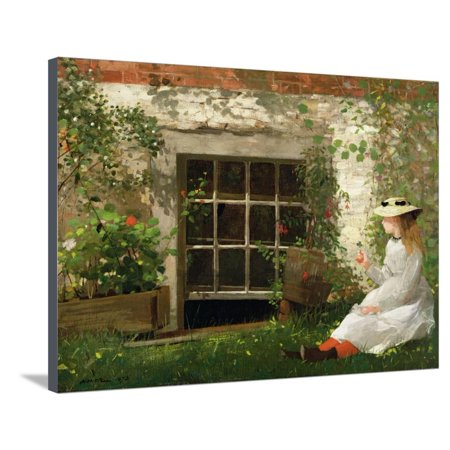 The Four Leaf Clover, 1873 19th Century Painting of Girl Stretched Canvas Print Wall Art By Winslow Homer