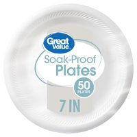 "Great Value 7"" Soak-Proof Plates, 50 Count"