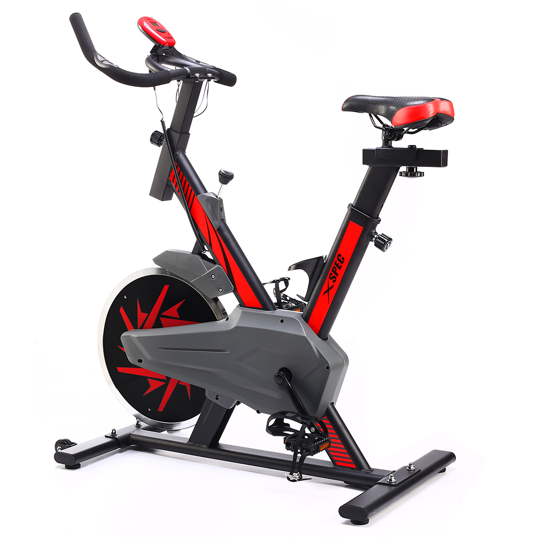 Xspec Pro Stationary Upright Red Exercise Cycling Bike w/ 25 LB Flywheel, Heart Pulse Sensors