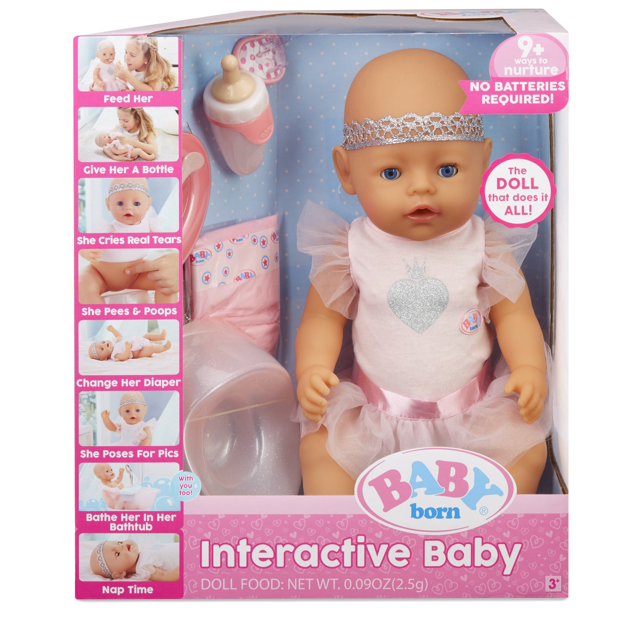 BABY born Interactive Doll Blue Eyes with 9 Ways to ...