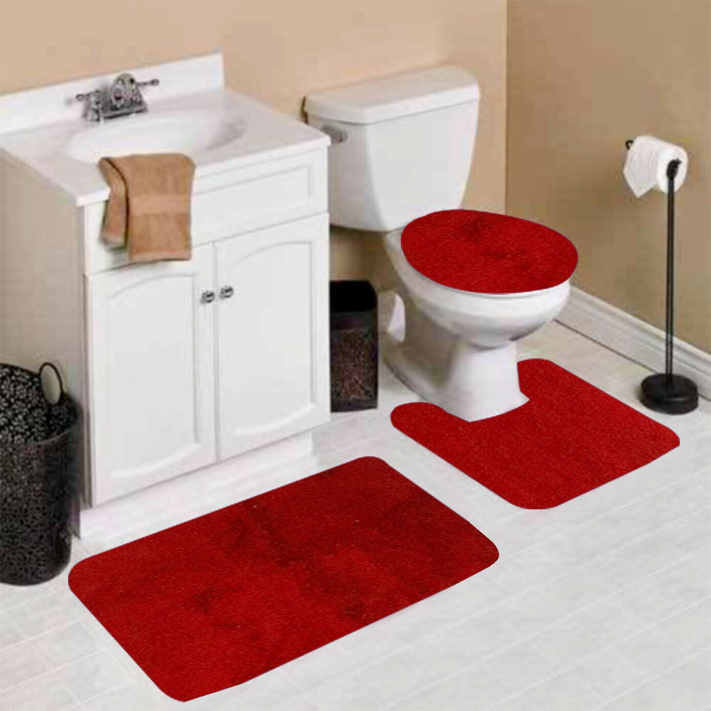 3 Pc 5 Red Design Bathroom Bath Mat Set Includes 1 Contour Lid Toilet Cover Ultra Absorbent With Anti Slip Backings Walmart Com