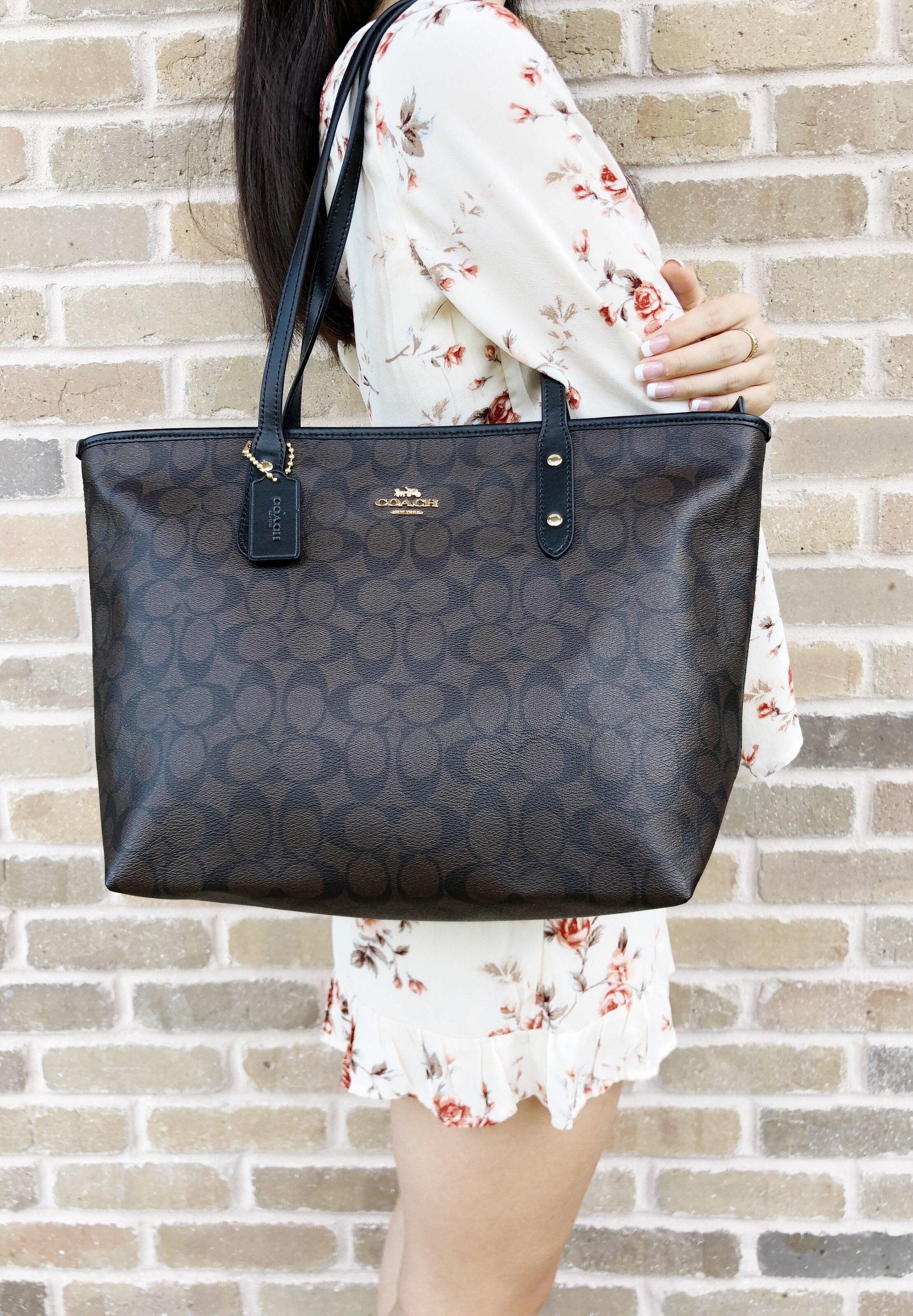 dfef93d14 ... wholesale coach f58292 signature city zip top large tote brown black  leather trim 86fc8 666e2