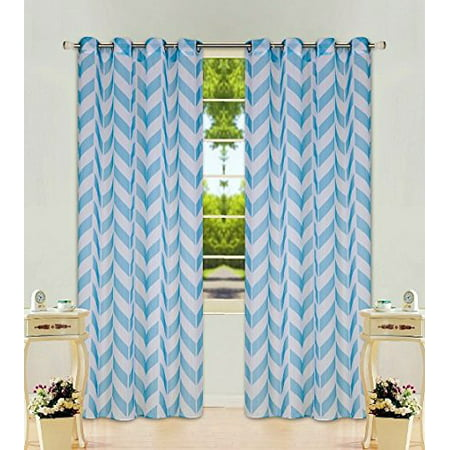 1 Panel Chevron Turquoise Two-Tone Pattern Design Voile Sheer Window Curtain 8 Silver Grommets 55