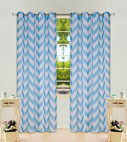 "2 Panel Chevron Turquoise Two-Tone Pattern Design Voile Sheer Window Curtain 8 Silver Grommets 55"" W X 84"""