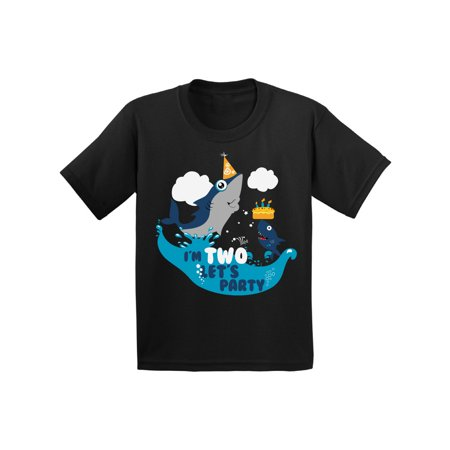 Awkward Styles 2nd Birthday Shirt Shark Bithday Party Cute Shark Tshirts for Toddlers Birthday Gifts for 2 Year Old Boys and Girls Shark T shirt Kids 2nd Birthday Party Funny Shark