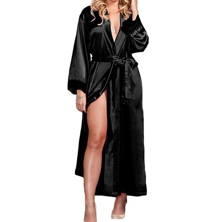Women Long Silk Satin Robe Bride Bridesmaid Dress Wedding Kimono Bathrobe - Cheap Silk Robes