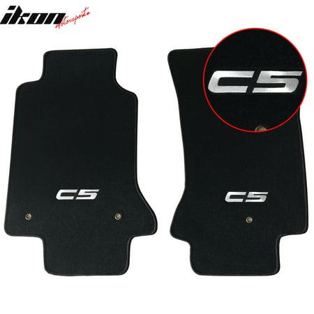 Fits 97-04 Chevy Corvette C5 Logo OE Fitment Floor Mats Carpet Nylon Black 2PC