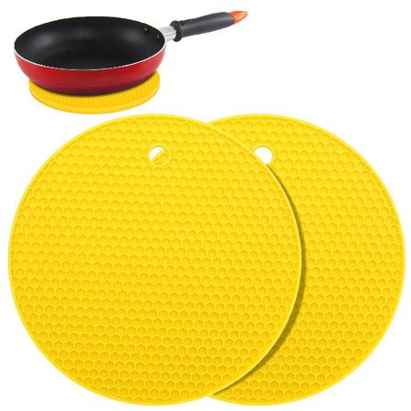 2pcs Silicone Pot Holders Multipurpose Round Pot Holders Trivets Jar Openers & Spoon Rests