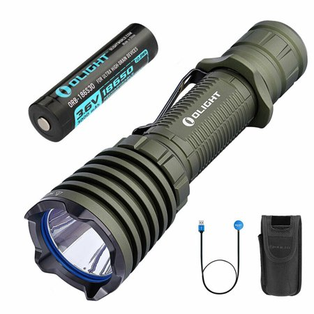 Olight Warrior X 2000 Lumen LED Tactical Flashlight (OD Green), 560-meters Long Throw with 3000mah HDC 18650 Rechargeable Battery, Magnetic Charging Cable, Pouch, Silicon Grip Ring