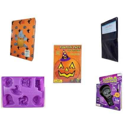 Halloween Fun Gift Bundle [5 Piece] -  Ghost Pumpkin Push In 5 Piece Head Arms Legs - Black Plastic Table Cover  - Darice Pumpkin Face Fun Felt Kit - Witch - Happy  Jell-O Mold -  Luma Light Show Fl