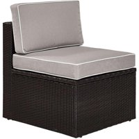 Palm Harbor Outdoor Wicker Center Chair with Grey Cushions - Brown