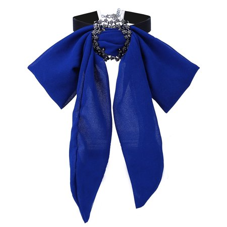 Women Long-style Chiffon Bowknot Necklace Pretty Bow Tie Ornament Festival Birthday Gift](Chiffon Bows)