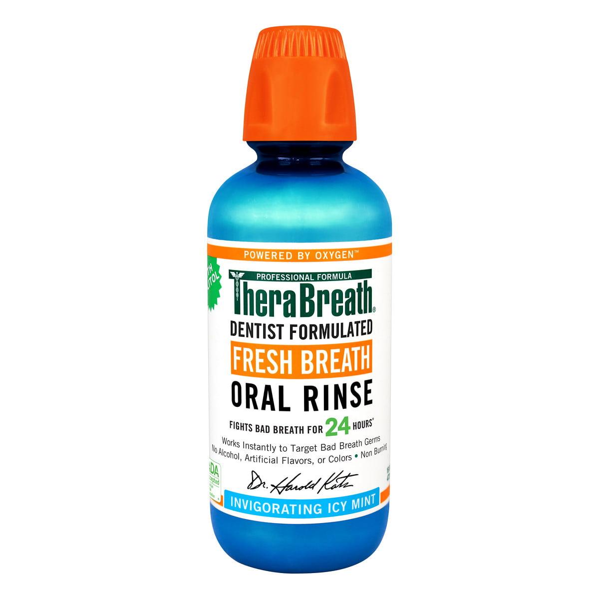TheraBreath Fresh Breath Oral Rinse Invigorating Icy Mint, 16.0 FL OZ