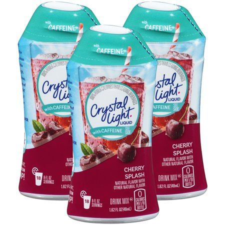 (12 Pack) Crystal Light Liquid Cherry Splash with Caffeine Drink Mix, 1.62 fl oz Bottle
