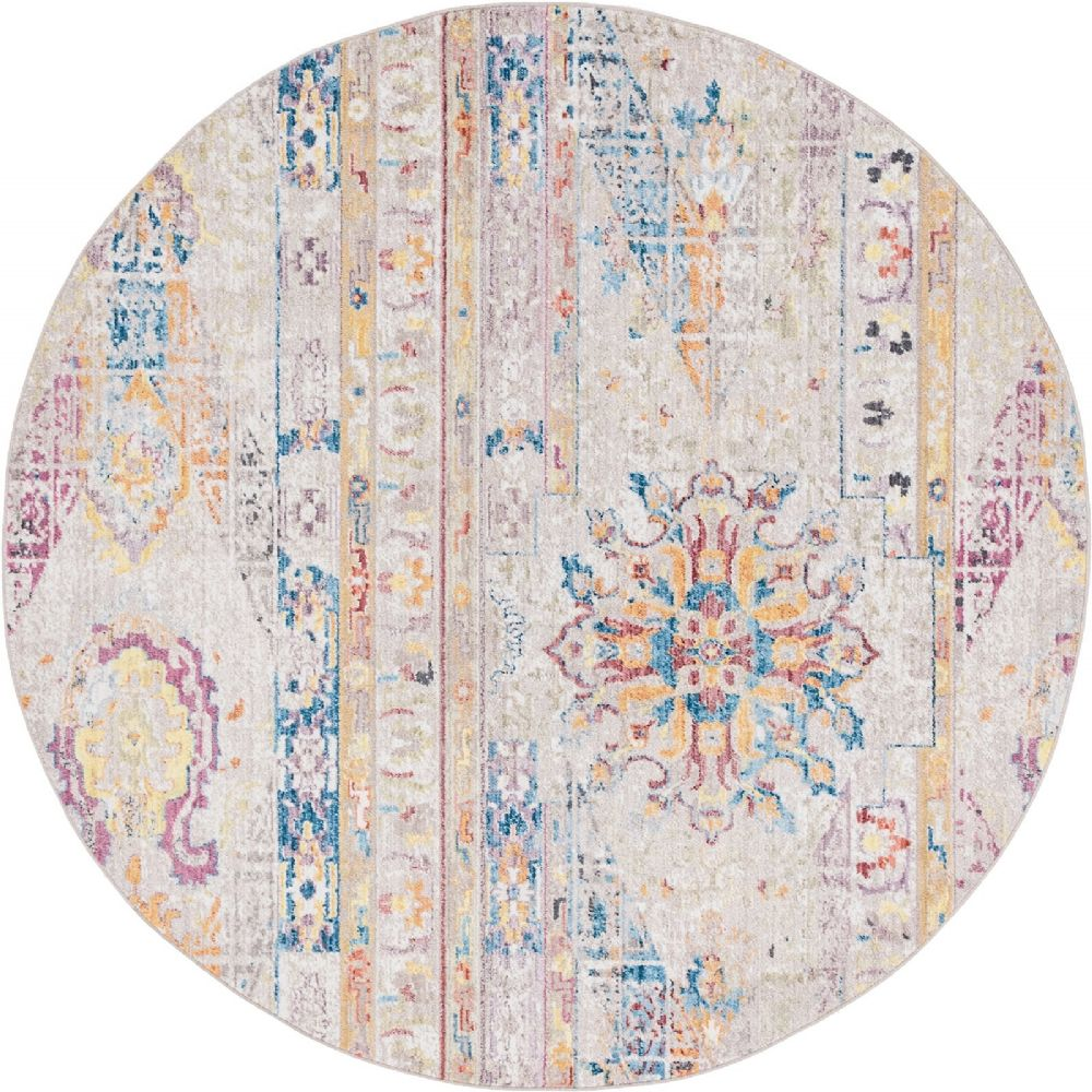 Round Or Rectangular Area Rug: SouthwesternLodge Boheme Collection Area Rug In Buff Color