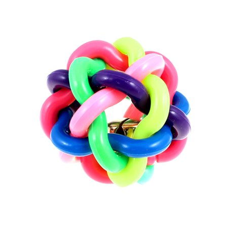 Unique Bargains 6cm Diameter Rainbow Color Strand Braided Ball Bell Rubber Dog Rope Chew Toy - Rainbow Dog