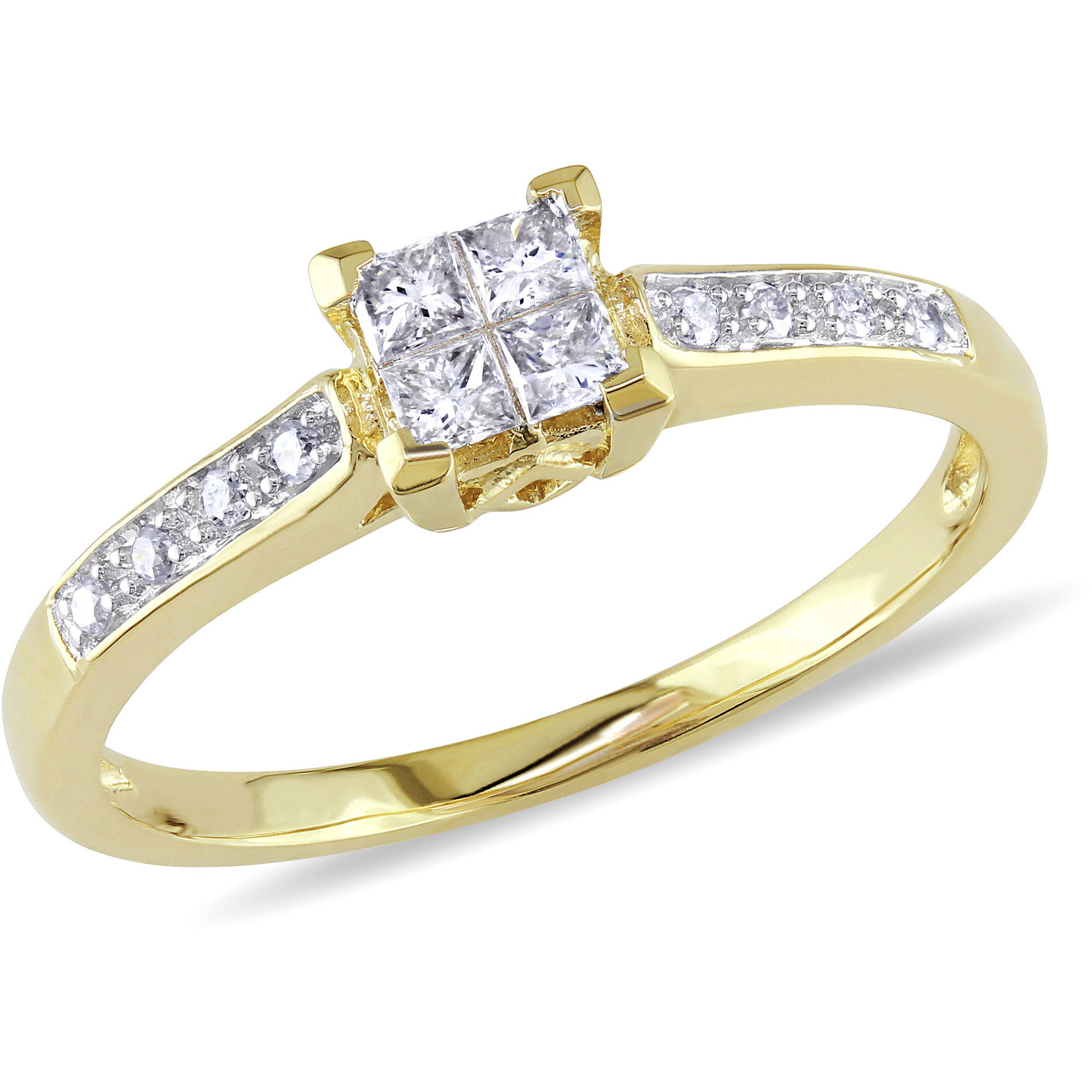 Miabella 1 4 Carat T W Princess Cut Diamond 10kt Yellow Gold