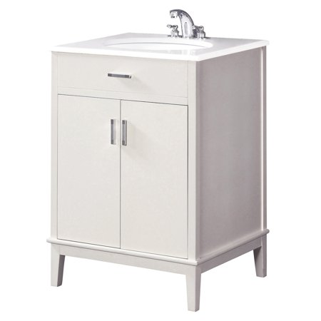 24 Inch Vanity Set - Brooklyn + Max Rockport 24 inch Contemporary Bath Vanity in Soft White with White Engineered Quartz Marble Top
