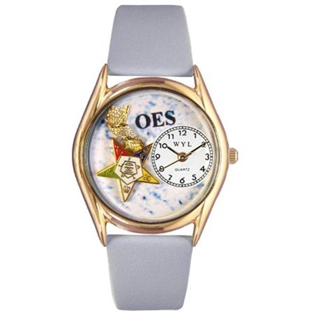 Whimsical Watches C-0710008 Womens Order of the Eastern Star Baby Blue Leather And Goldtone Watch - image 1 de 1