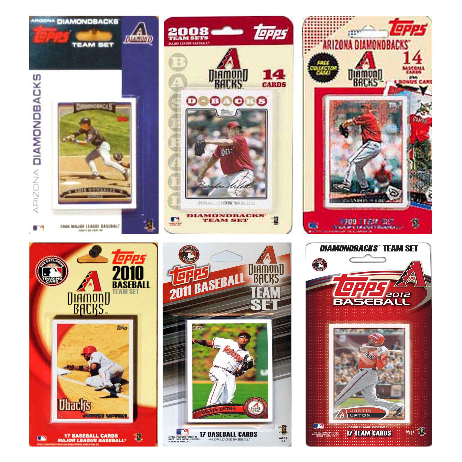 MLB Arizona Diamondbacks 6 Different Licensed Trading Card Team Sets