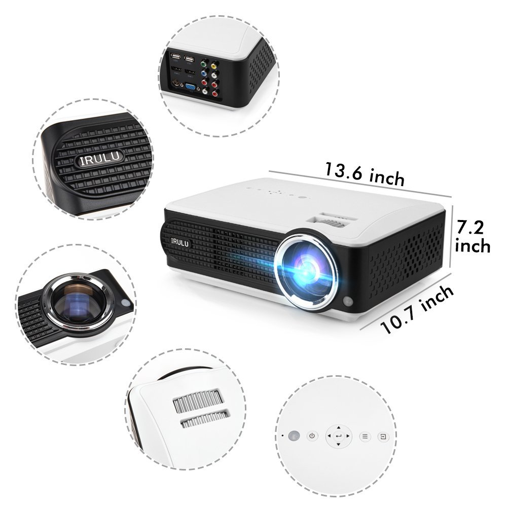 Irulu P4 Projector HD LCD Video Projector Support 1080P H...